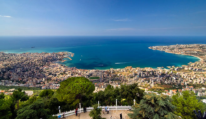 View over Lebanon from Mount Harissa