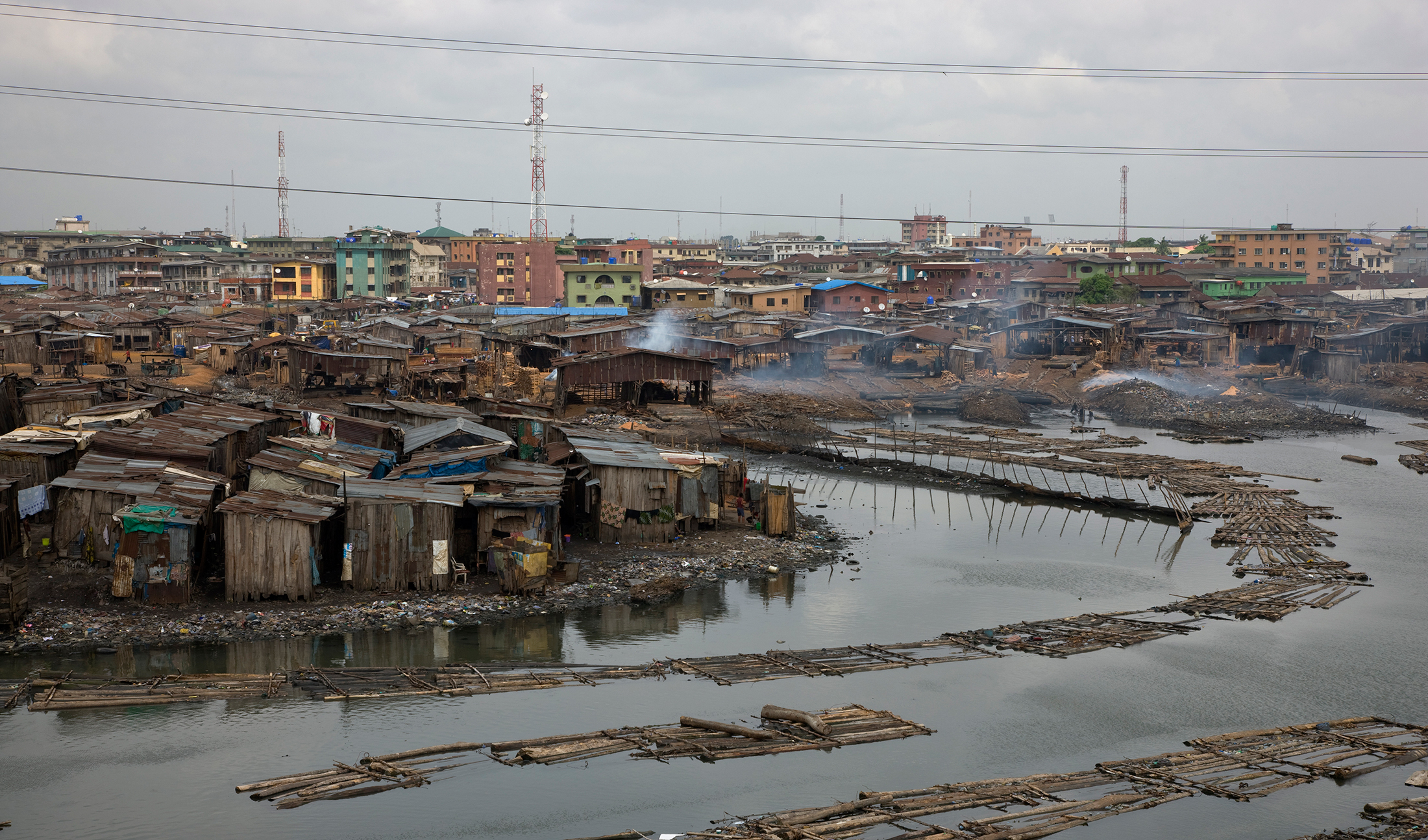 Slums in Lagos, Nigeria. Overcrowding and homelessness in the country have resulted from its lack of adequate and affordable housing