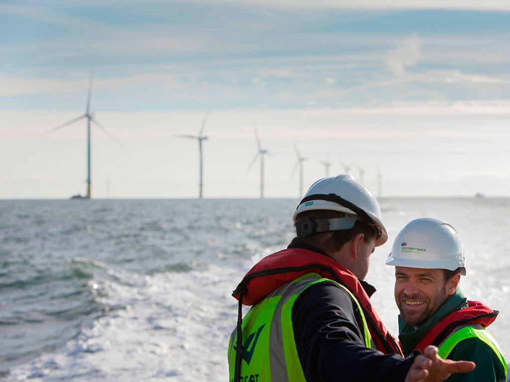 Iberdrola employees at West of Duddon Sands offshore wind farm